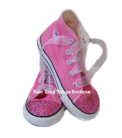 Womens Pink Diamond Swarovski Crystal Converse Shoes