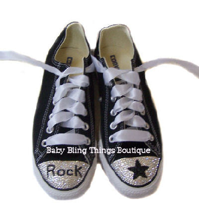 d8cc8f588d0ced Womens Rock Star Swarovski Crystal Converse Shoes – Baby Bling Things  Boutique