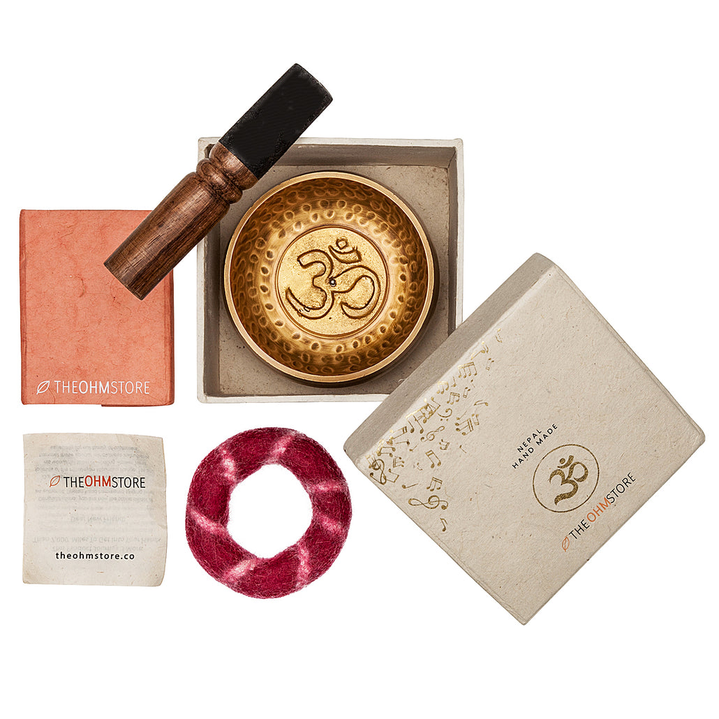 The Truth Ohm and Journal Set - Handmade Singing Bowl, Striker and Lokta Gift Box