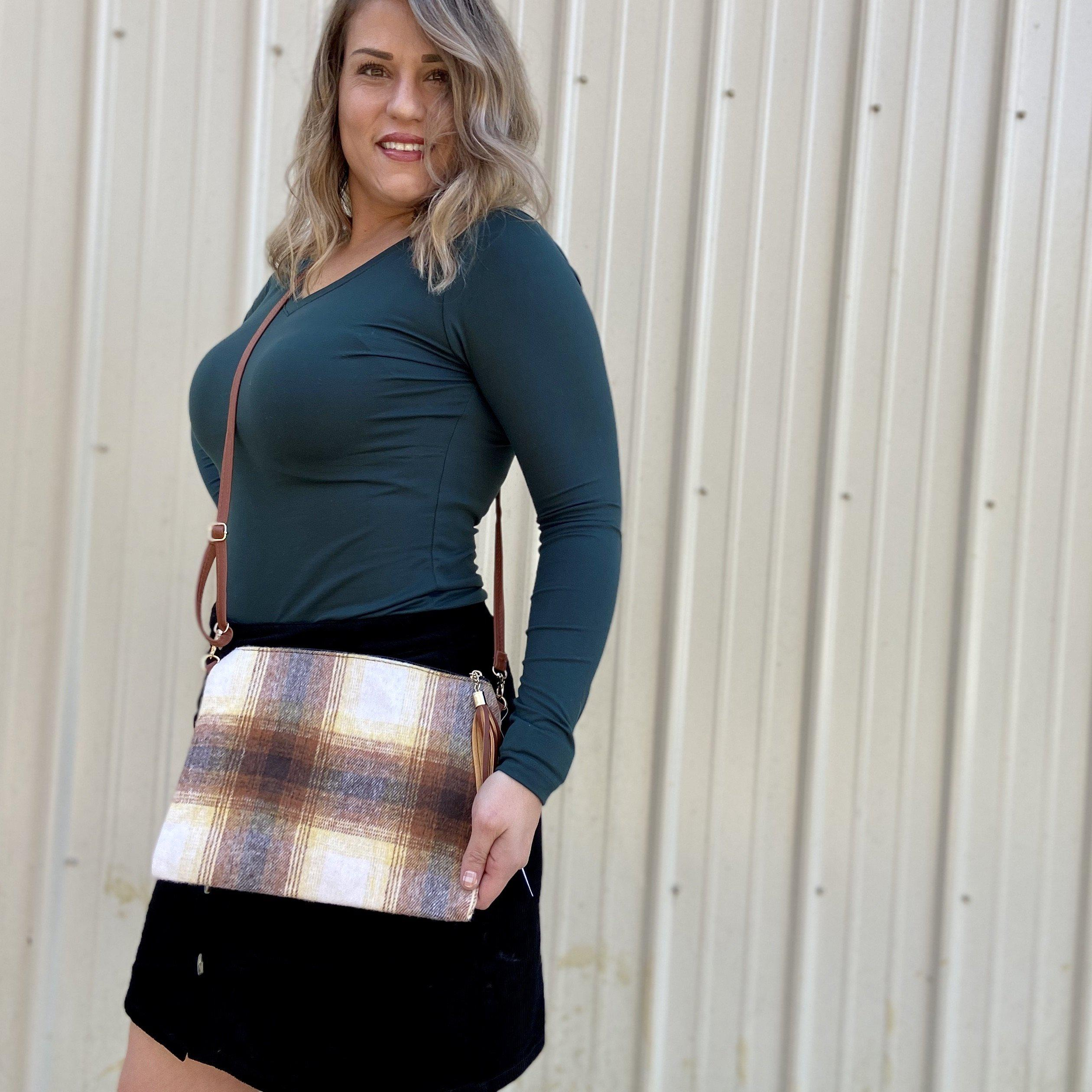 A-042 Plaid Crossbody Purse