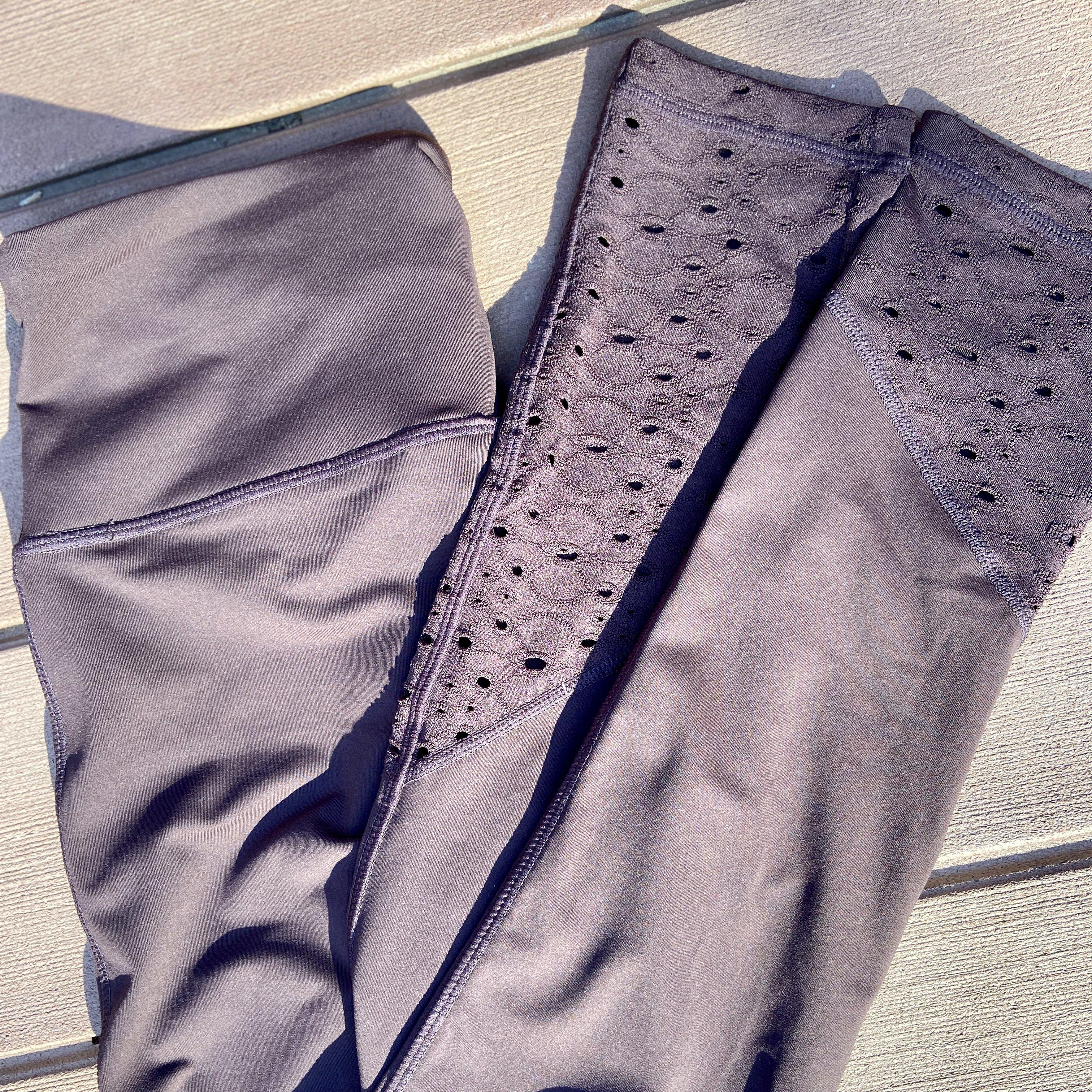 B-020 Lace Accent High Waist Leggings in Coffee