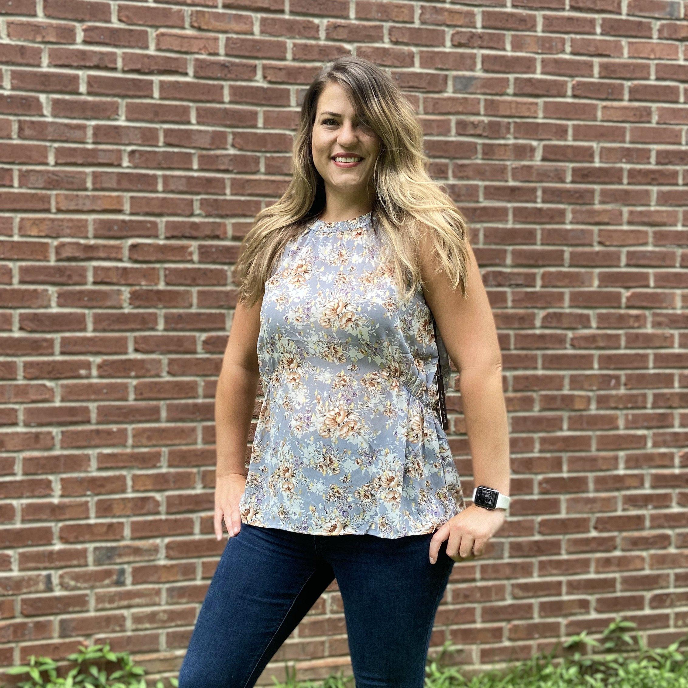 T-157 Sheer gray floral Top