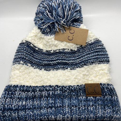 A-037 Striped Single Pom Beanie in two colors
