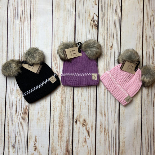A-036 Baby Double Pom Beanie in 3 colors