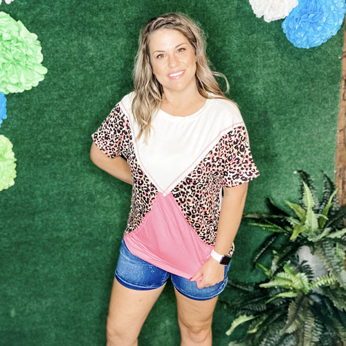 Leopard Print Color Blocked Boxy Top