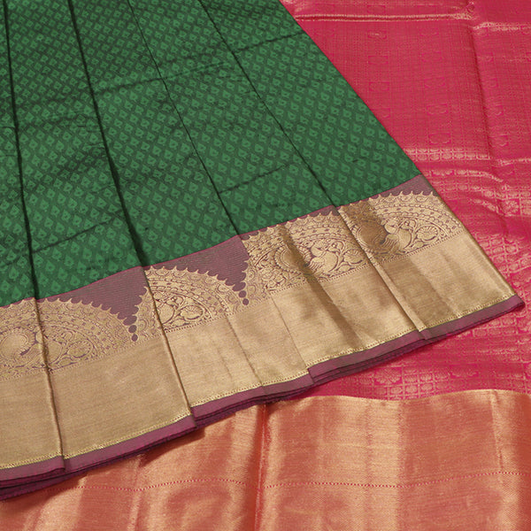Terramart Silk Sarees -  Fantastic Dark Green Colour Saree with Purple & Gold Color Peacock Design Border