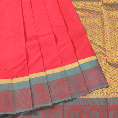 Terramart Silk Sarees - Unique Bold Red Colour Saree with Green & Gold Colour Border