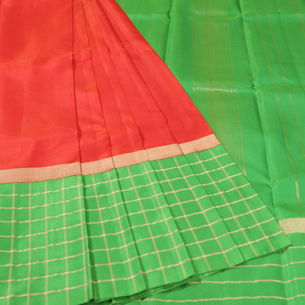 Terramart Silk Sarees - Trendy Lady look - Red color Saree with Green & Gold Strips Big Border