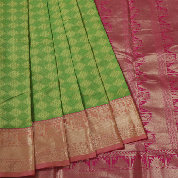 Terramart Silk Sarees -  Festive Wear Double Shade Green, Parrot Green Saree With Pink & Gold Colour Border