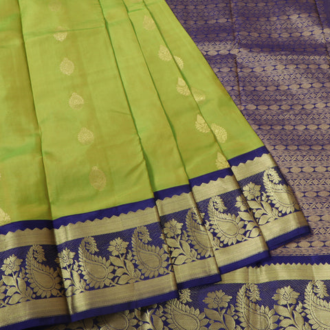 Terramart Silk Sarees - Butta Design Green Colour Saree with Navy Blue & Gold Colour Fancy Border