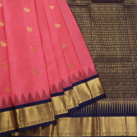 Terramart Silk Sarees - Leaf Butta design Tomato Pink Colour Saree with Dark Blue & Gold Colour Mild Temple Border