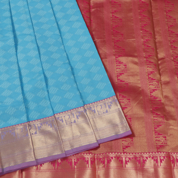 Terramart Silk Sarees - Festive Wear Blue Shade Saree with Lavender & Gold Colour Border