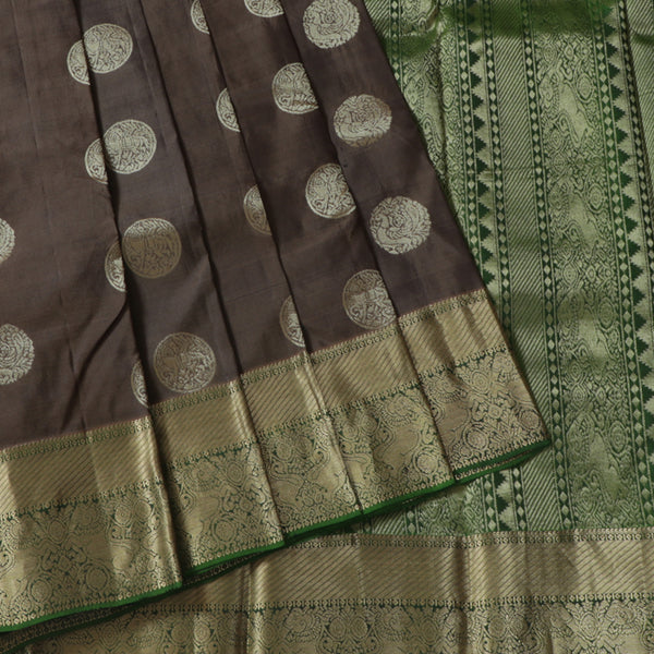 Terramart Silk Sarees - Round Butta Designer Dark Chocolate color Saree with Green & Gold Colour Border
