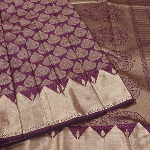 Terramart Silk Sarees - Gorgeous Violet color Saree full body zari Gold Colour Border