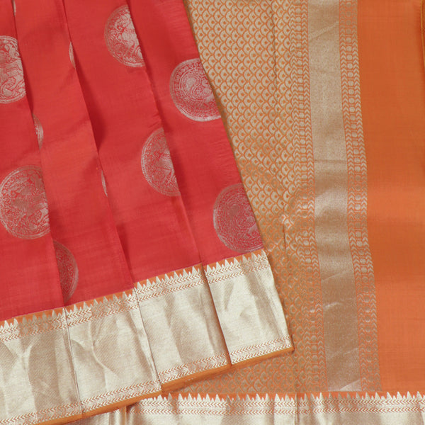 Terramart Silk Sarees - Round Butta Designer Fluorescent Orange color Saree with Gold Colour Border