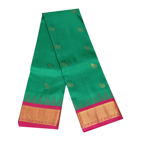 Terramart Silk Sarees -  Leaf Butta design Green Colour Saree with Pink & Gold Mild Temple Border