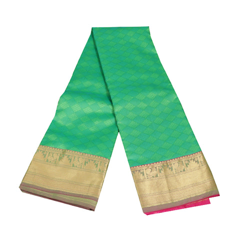 Terramart Silk Sarees -  Festive Wear Double Shade Green Saree with Lavender & Gold Colour Border