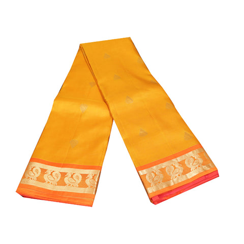 Terramart Silk Sarees - Mustard Orange Colour Saree with Orange & Gold Color peacock butta line border