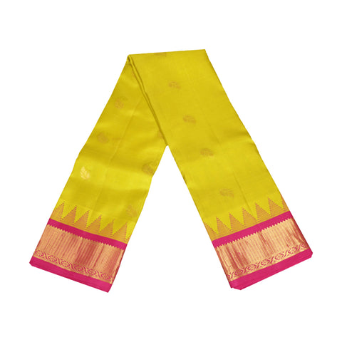 Terramart Silk Sarees - Festive Wear Fluorescent Yellow Colour Saree with Pink & Gold Mild Temple Border