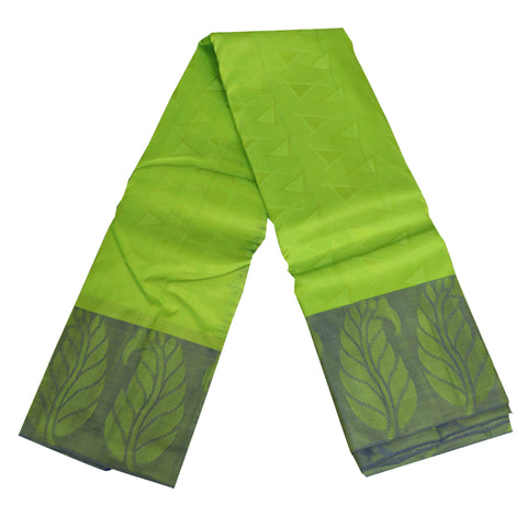 Terramart Silk Sarees - Neat Look Parrot Green Colour Saree with Blue Colour Leaf Design Border
