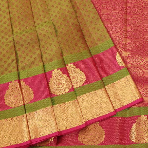 Terramart Silk Sarees - Extraordinary Looking Greenish Saree with Pink, Green & Gold Colour Border