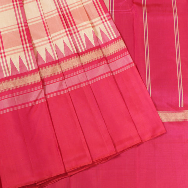 Terramart Silk Sarees - Strips design Pink, Sandal, Gold Colour Saree with Pink colour big border