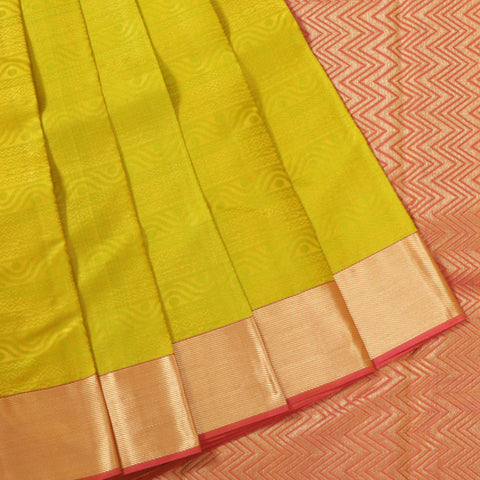 Terramart Silk Sarees - Unique Light Green color Saree with Pink & Gold Colour Border
