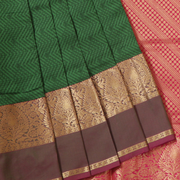 Terramart Silk Sarees - Fantastic Dark Green Saree with Lavender & Gold Colour Border