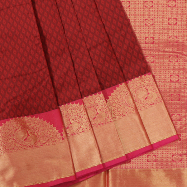Terramart Silk Sarees -  Fantastic Maroon Colour Saree with Pink & Gold Color Peacock Design Border
