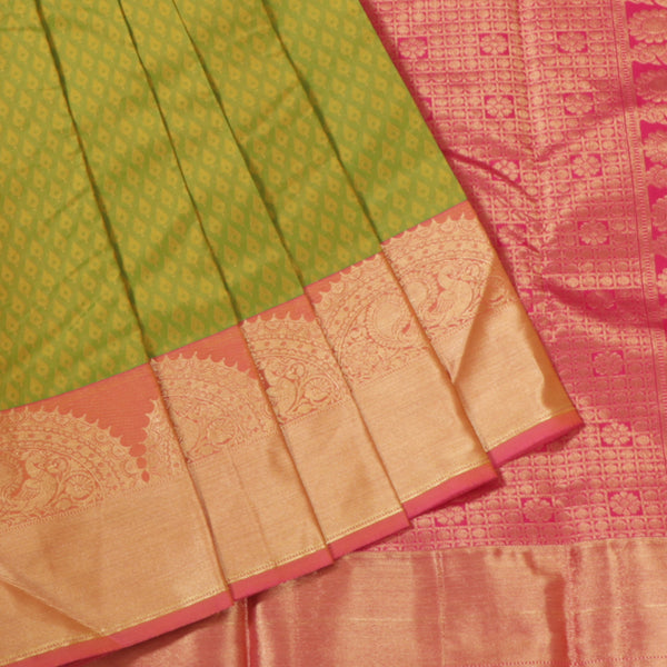 Terramart Silk Sarees - Fantastic Parrot Green Colour Saree with Pink & Gold Color Peacock Design Border