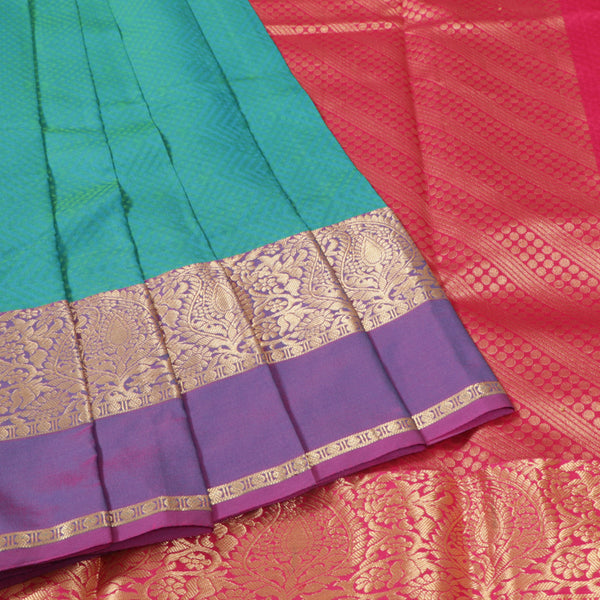 Terramart Silk Sarees - Shiny Peacock Blue Saree with Lavender & Gold Colour Border