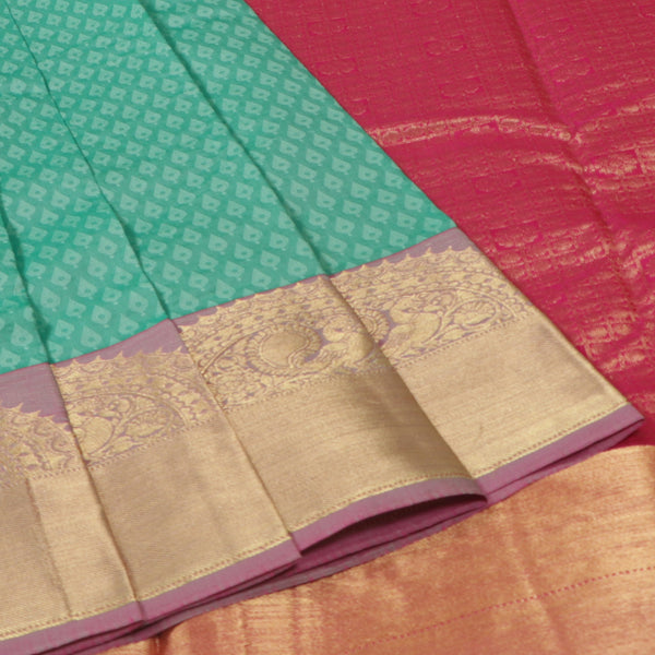 Terramart Silk Sarees - Fantastic Apple Green Colour Saree with Lavender & Gold Color Peacock Design Border