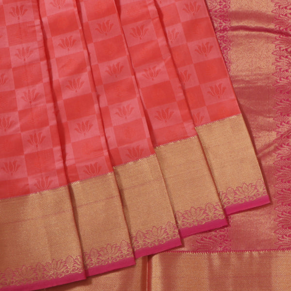 Terramart Silk Sarees - Lotus Design Tomato Pink,Baby Pink Colour Saree with Gold & Pink Border