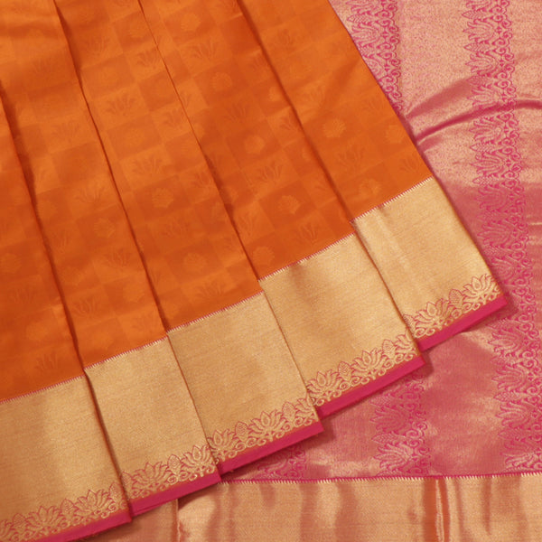 Terramart Silk Sarees - Lotus Design Dark Mustard Colour Saree with Gold & Pink Border