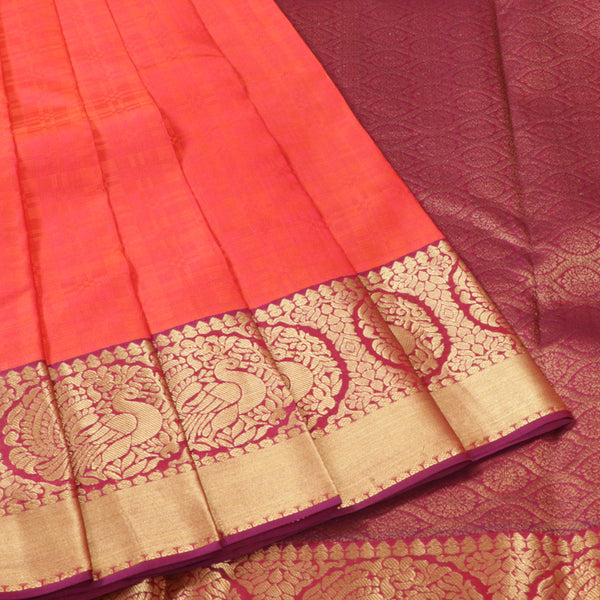 Terramart Silk Sarees - Double Shade Pinkish Orange color Saree with Gold Colour Round Peacock Design Border