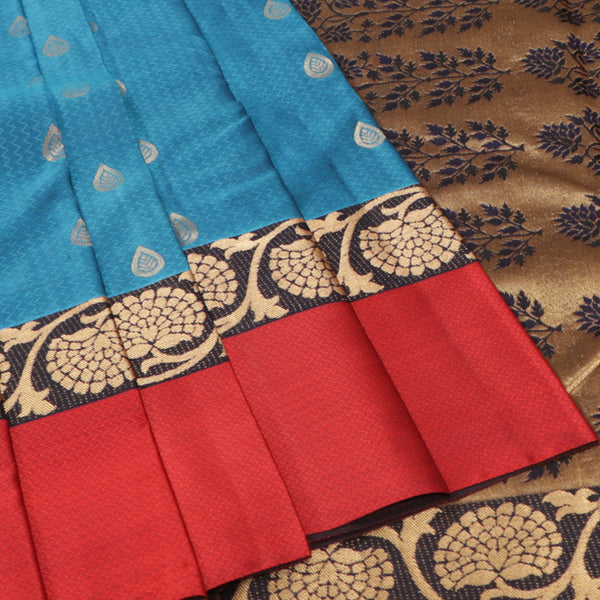 Terramart Silk Sarees - Winning Royal Blue Saree with Dark Blue, Gold & Maroon Colour Border
