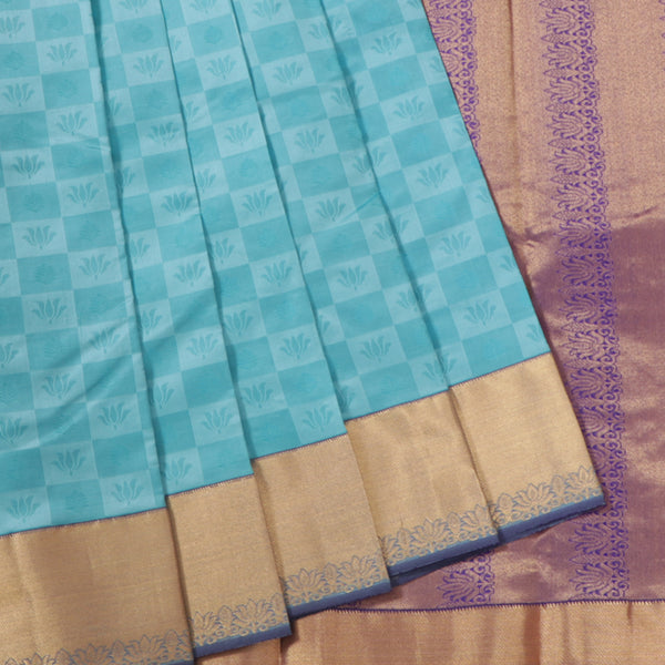 Terramart Silk Sarees - Lotus Design Sky Blue, Dark Blue Colour Saree with Gold Border