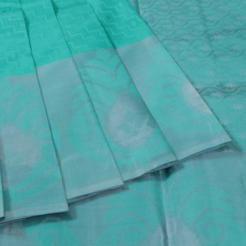 Terramart Silk Sarees - Unique Pantone Green Color Saree with Grey & Green Colour Border