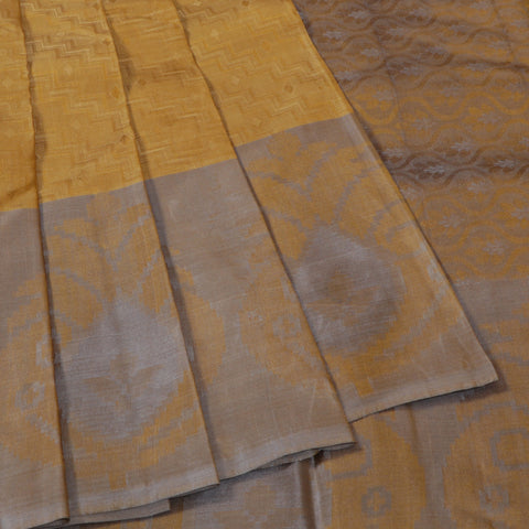 Terramart Silk Sarees - Unique Look Mustard Colour Saree with Gray Colour Border