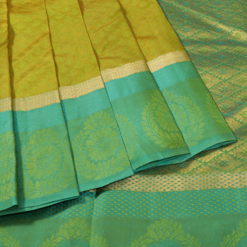 Terramart Silk Sarees - Smooth Buttas Designer Olive Green Color Saree with Bluish Green & Gold Colour Border