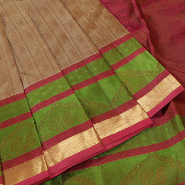 Terramart Silk Sarees - Exclusive Fluorescent Gold Color Saree with Pink, Green & Gold Colour Border