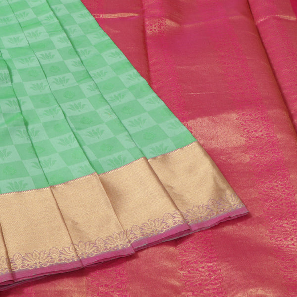 Terramart Silk Sarees - Lotus Design Pista Green, Parrot Green Colour Saree with Gold & Pink Border