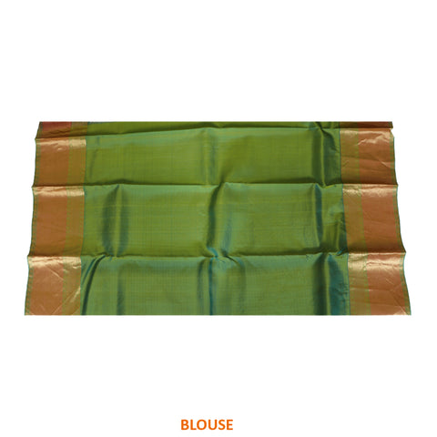 Terramart Silk Sarees - Unique Olive Yellow color Saree with Peach, Gold & Green Colour Border