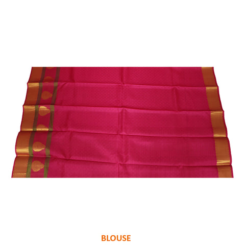 Terramart Silk Sarees - Extraordinary Looking Sandal, Gold Shade Saree with Pink, Green & Gold Colour Border