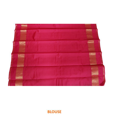 Terramart Silk Sarees - Fantastic Parrot Green Colour Saree with Pink & Gold Colour Border