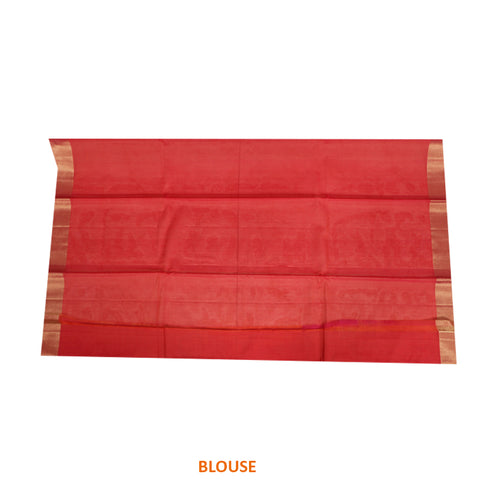 Terramart Sico Saree - Lovely Violet color Saree with Red, Tomato Pink & Gold color Pallu