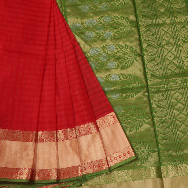 Terramart Sico Saree - Pleasing Maroon color Saree with Green, Sandal & Gold color Pallu
