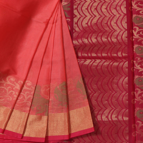 Terramart Sico Saree - Charming Peach color Saree with Pink & Gold color Border