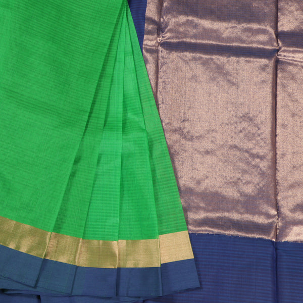 Terramart Sico Saree - Classic Parrot Green color Saree with Navy Blue & Gold color Border