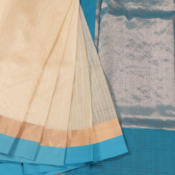 Terramart Sico Saree - Stylish Sandal color Saree with Sky Blue & Gold color Border